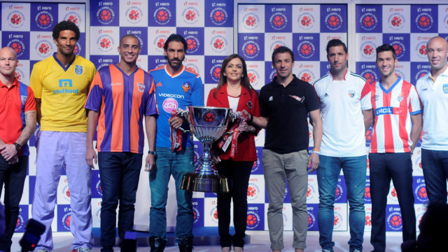 Trophy unveiling ceremony for the ISL featuring marquee players for the season.