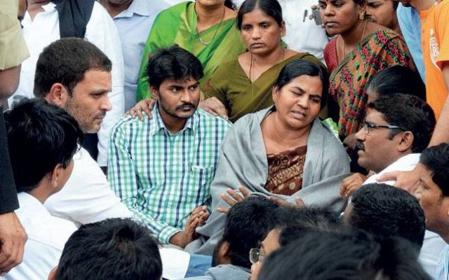 Rahul Gandhi meets Rohith's Mother