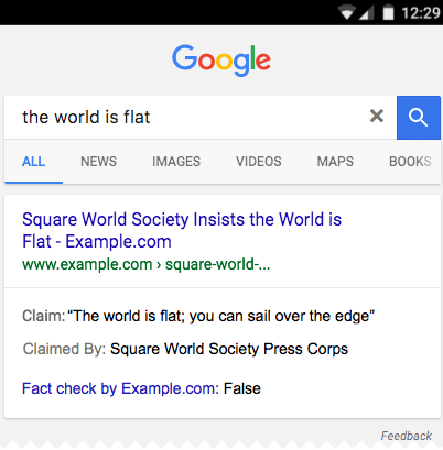 Google Fact Check Example