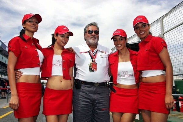 Mallya with his cabin crew