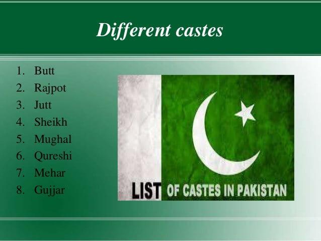 Different castes in Pakistan