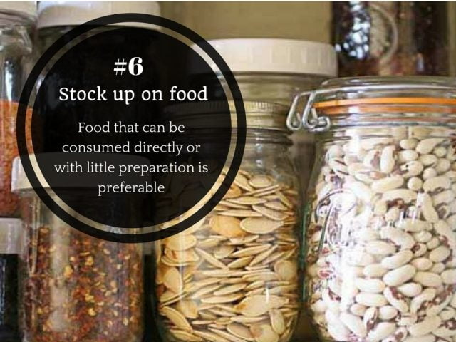 6. Store food which can be consumed directly or cooked with very little preparation