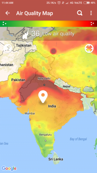 Air Quality Map of India on 14th June