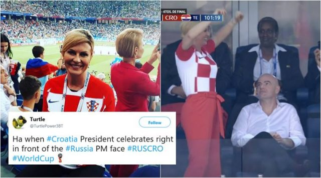 Croatian President cheers her team as Russian PM looks