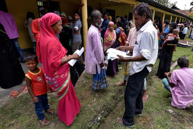 People waiting for registrations at an NRC centre in Assam