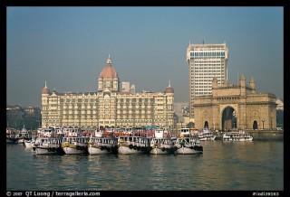 Taj Mahal Palace and Gateway of India. Mumbai, Maharashtra, India