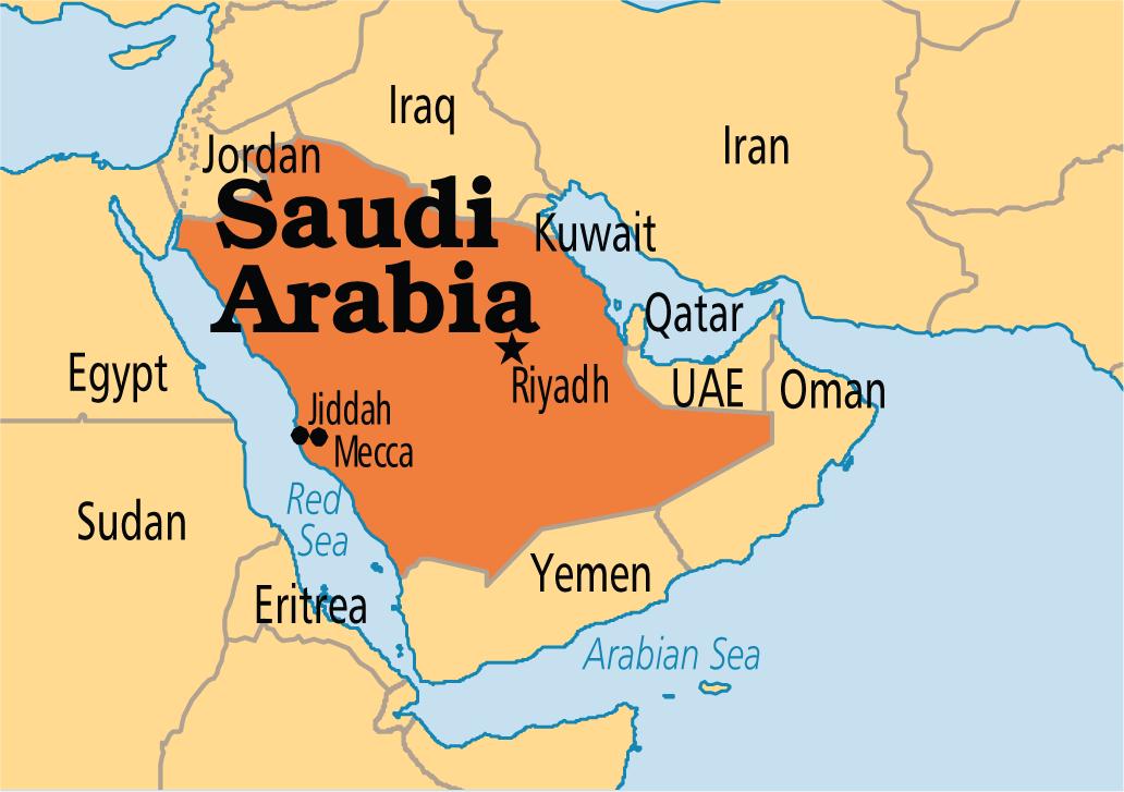 saudi's strategic position on the map, source -  operationworld(dot)org