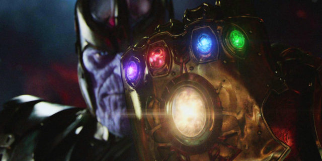 Josh Brolin as The Mad Titan, Thanos can be seen with the Infinity Gauntlet with all the Infinity Stones in it.
