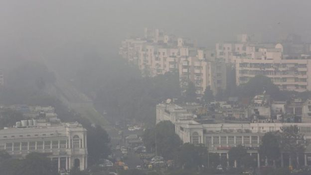 An view of smog covered CP