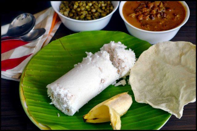Enjoy your puttu with kadala curry, payaru and papadum or a banana