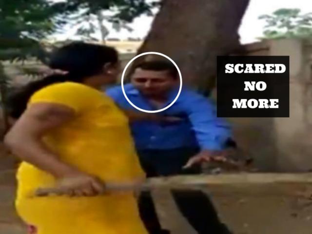 woman beats manager
