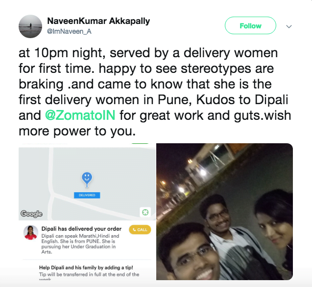 women for food delivery