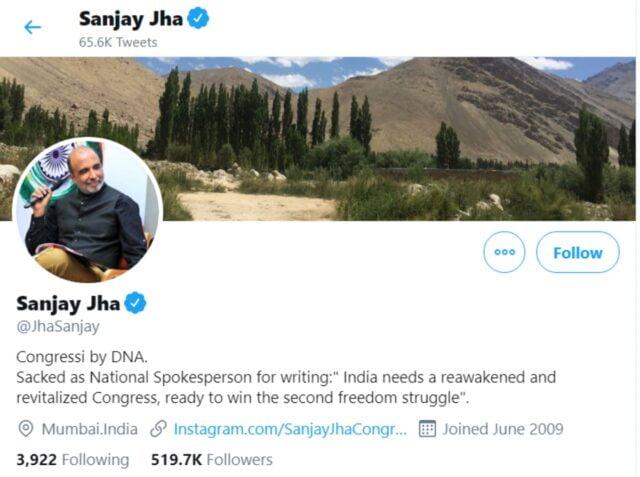 sanjay jha's twitter bio