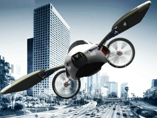 A vision of the future with flying cars