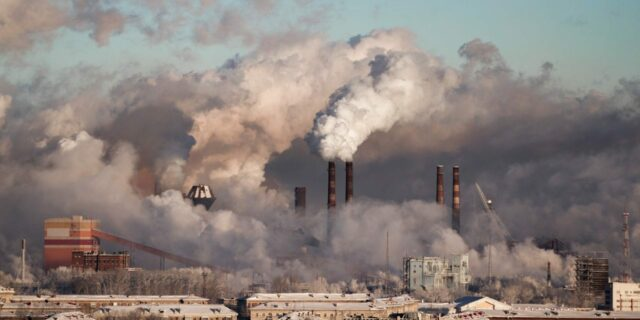 Air pollution being caused by carbon emission from factories